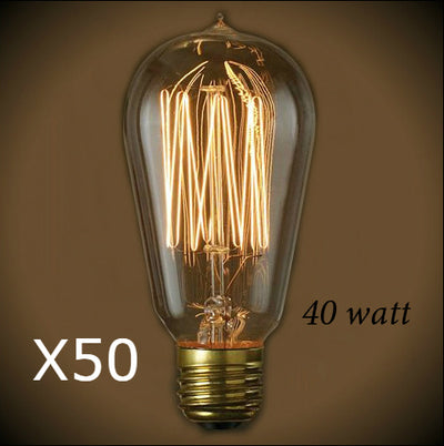 Edison 40 Watt Bulb - 4.95 in. Length - 50 Bulb Pack