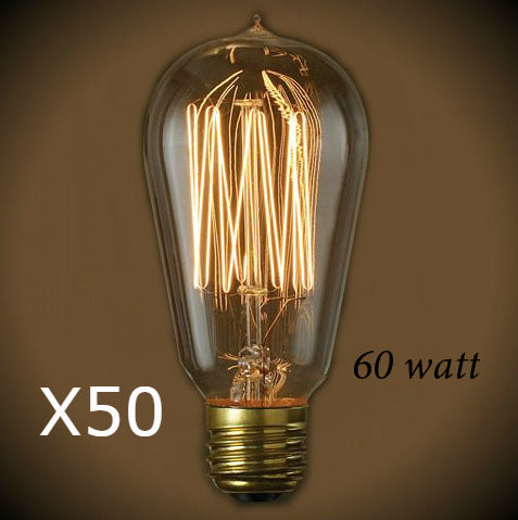 Edison Style - Vintage 60 Watt Bulb - 4.95 in. Length - 50 Bulb Pack