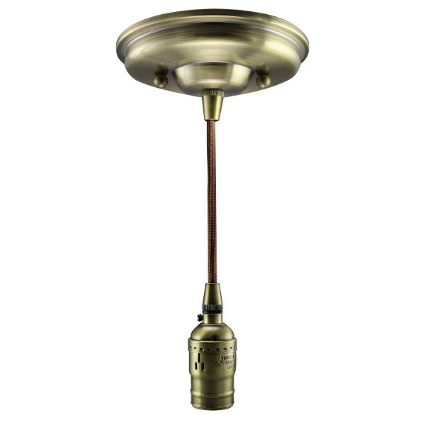 Antique Brass Socket Pendant Light