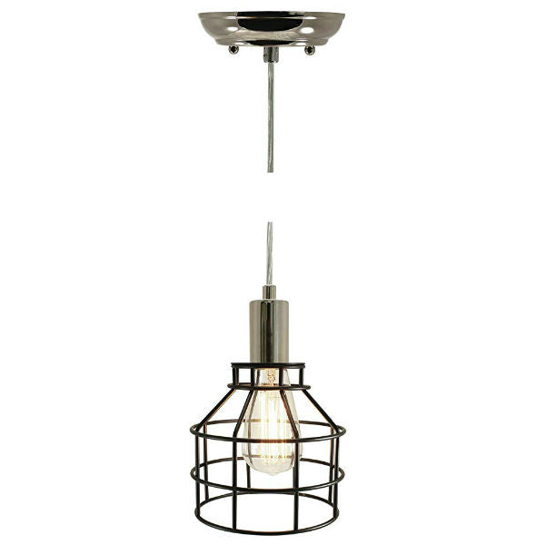Nostalgic Industrial Black and Nickel Caged Pendant Light