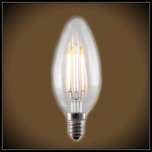 Standard LED Filament Chandelier Bulb - 2 Watt - UL Listed