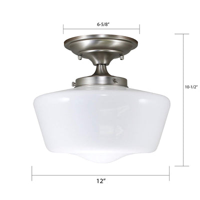 Satin Nickel Finish Opal Glass schoolhouse fixture
