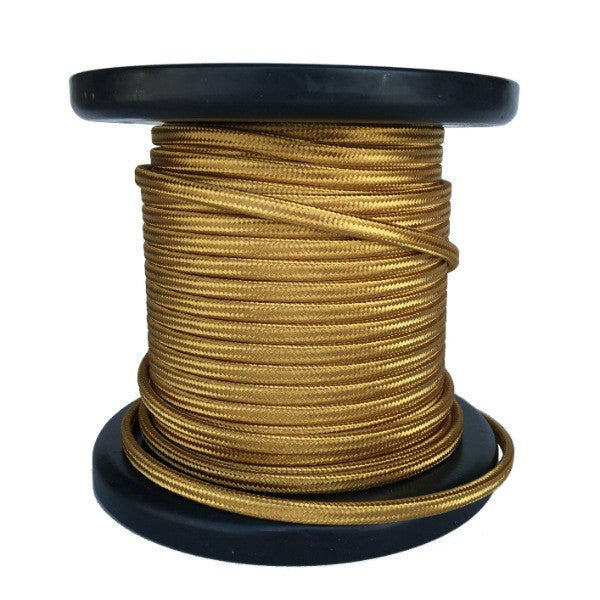 Gold Cloth-Covered Parallel Cord - 100 foot spool