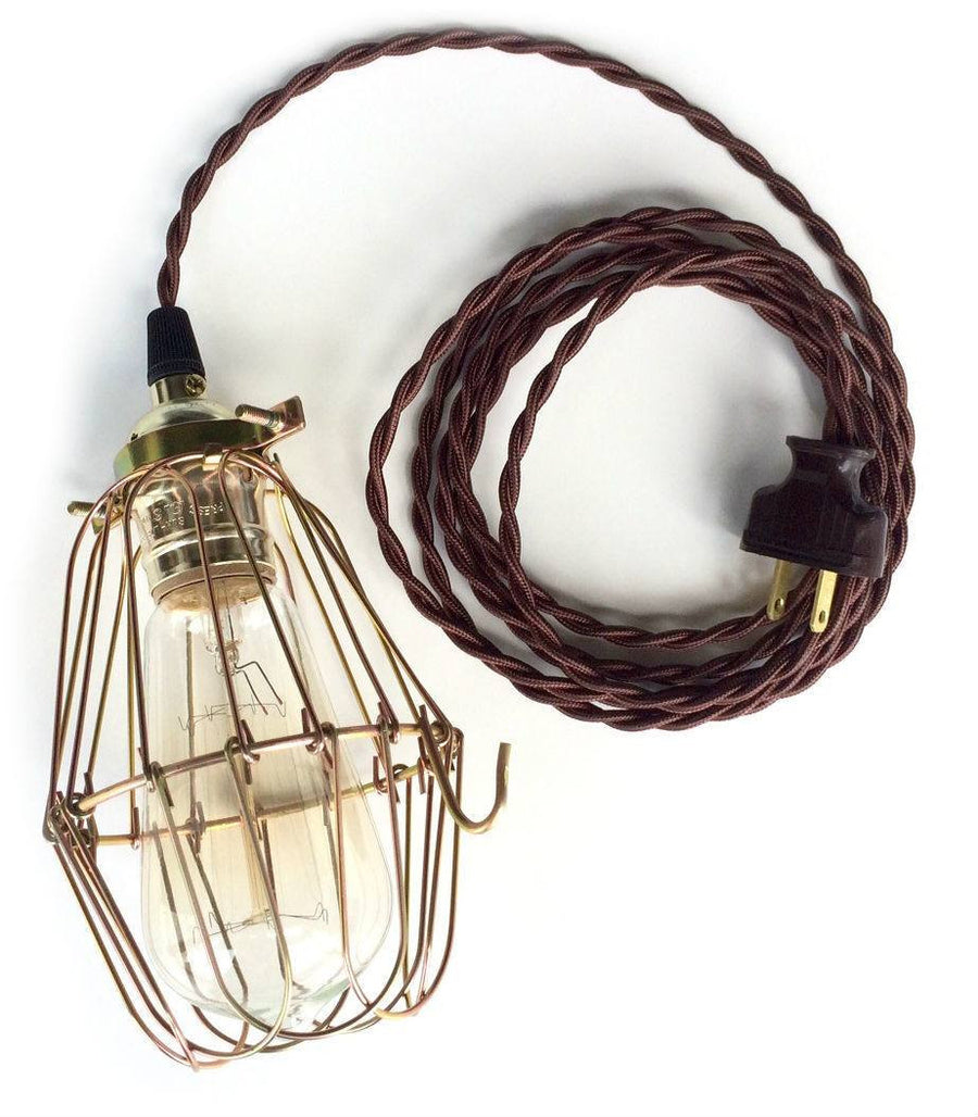 Plug In Pendant Light Hanging With Cord Wiring A For Lamp Nostalgic Brown Cloth Twisted Cage