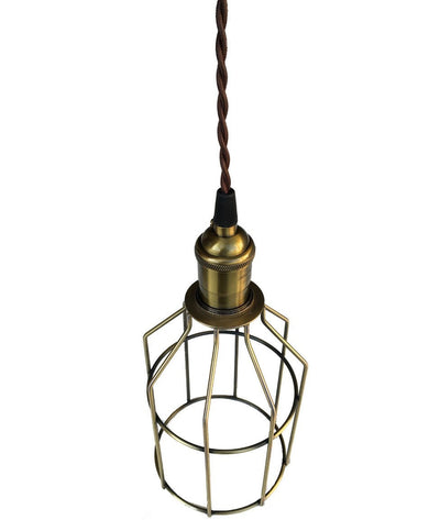Nostalgic Antique Brass Caged Hanging Lamp