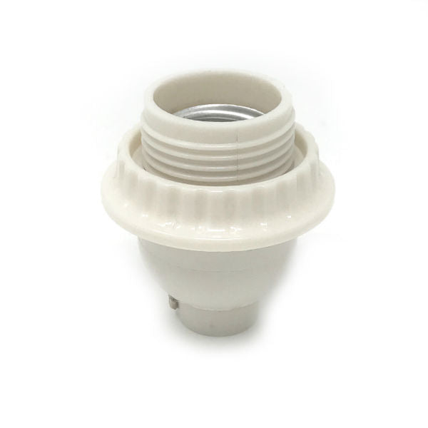 Keyless Short Threaded White Socket with Ring