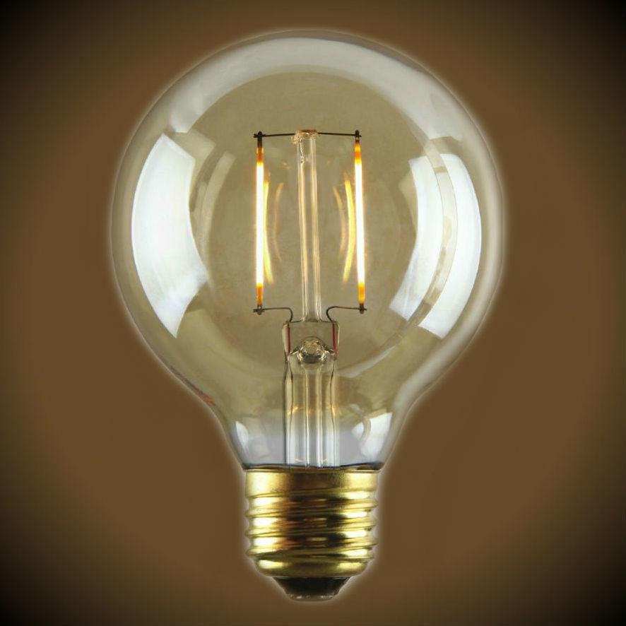 LED Filament Edison Light Bulb - G25 Globe - 1.5 Watt - Amber - 2200K