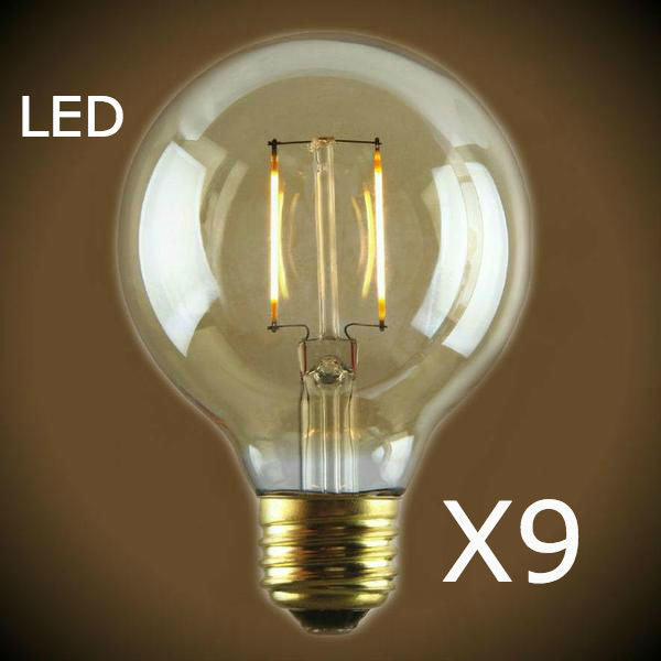 LED Filament Edison Light Bulb - G25 Globe - 9 Bulb Pack