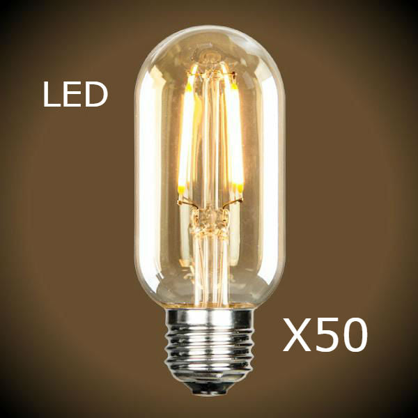 LED Edison Tubular Bulb - Case of 50 Bulbs