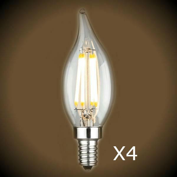 Pack of 4 CA10 LED Candelabra 60 Watt Equal Bulbs