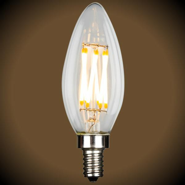 LED Filament Chandelier Bulb - 4.5 Watt - B10 - 380 Lumens - 2700K