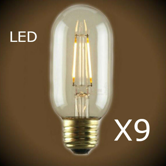 LED Filament Edison Bulb -1.5 Watt - Radio Style T14 - 9 Bulb Pack