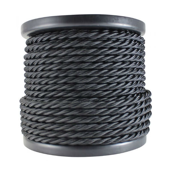 3 Conductor Twisted Black Cloth Covered Cord - Per Foot