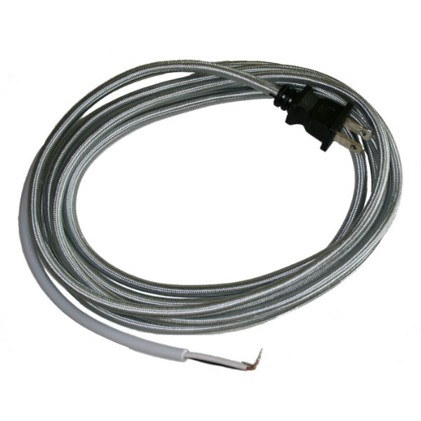 Silver Cloth Covered Cord with molded Plug - 10 ft.