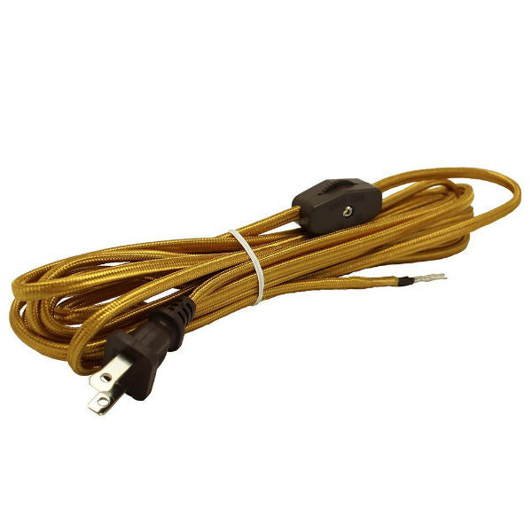 Black SPT1 rayon covered cord set with molded plug and on/off switch ...