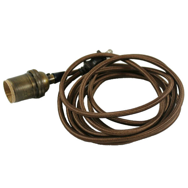 Nostalgic Brown Cloth Cord Pendent with Antique Brass Socket