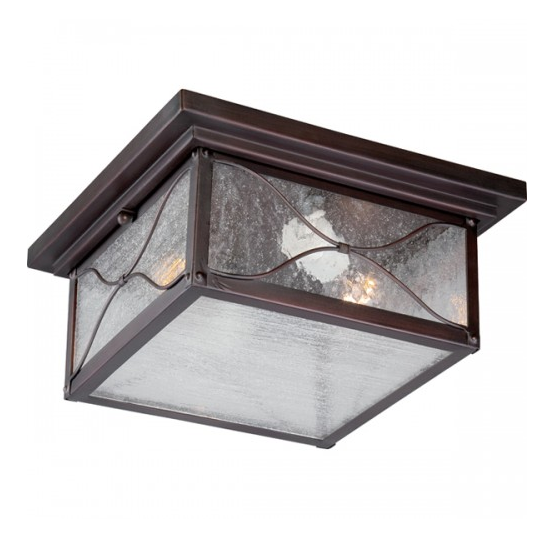 Classic Bronze 2 Edison Lights Outdoor Flush Mount Fixture