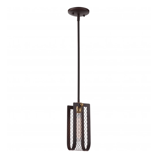 Bandit Patina Bronze with Vintage Brass Accents Mini Pendant Light