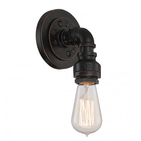 Industrial Bronze Finish 1 Edison Lights Vanity Fixture