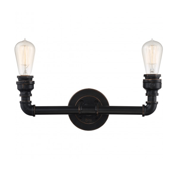 Industrial Bronze Finish 2 Edison Lights Vanity Fixture