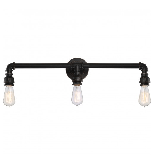 Industrial Bronze Finish  3 Edison Lights Vanity Fixture