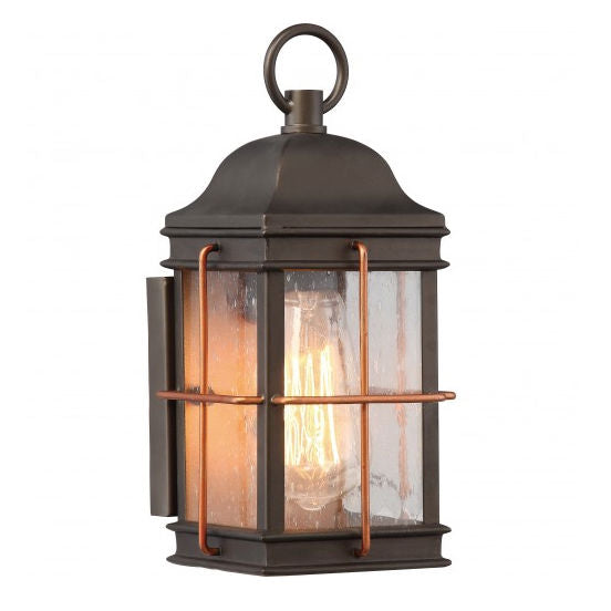 Bronze With Copper Accent 1 Edison Light Small Outdoor Wall Fixture