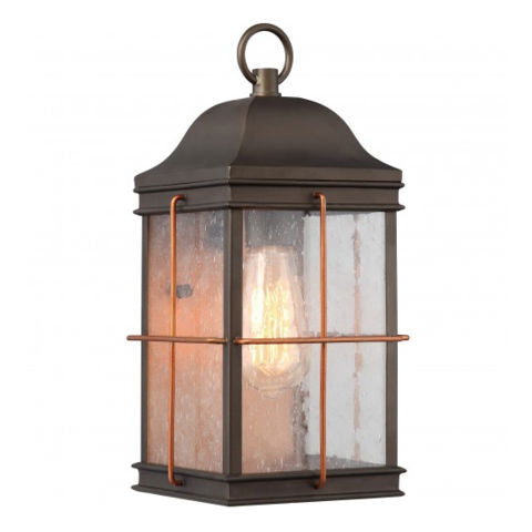 Bronze w/ Copper Accent 1 Edison Light Medium Outdoor Wall Fixture