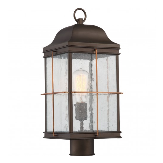 Bronze with Copper Accent 1 Edison Light Outdoor Post Lantern