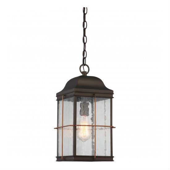 Bronze with Copper Accent 1 Edison Light Outdoor Hanging Lantern