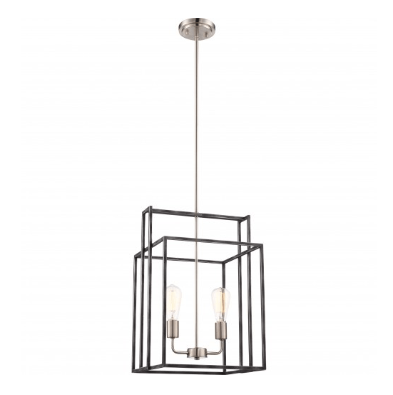Iron black with brushed nickel accent finish 2 light edison pendant iron black with brushed nickel 2 light lake 14 in square pendant aloadofball Images