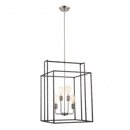 Iron Black with Brushed Nickel  4- Light Lake 19 in. Square Pendant