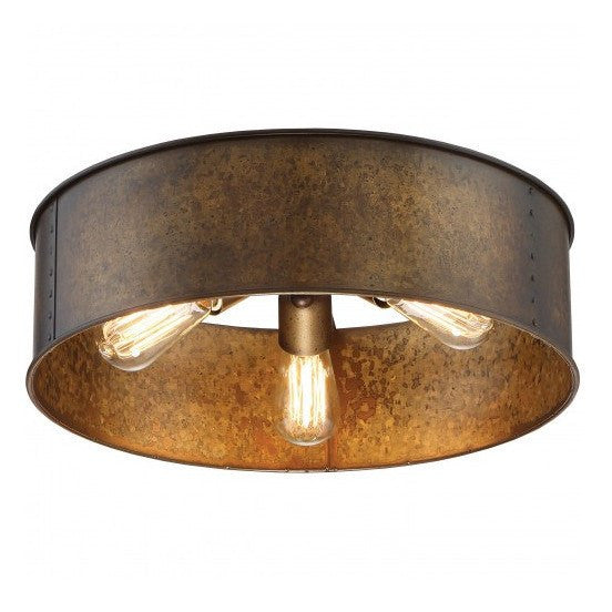 Kettle Weathered Brass Finish 3-Lights Flush Edison Fixture