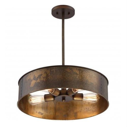 Kettle Weathered Brass Finish 4-Lights Edison Chandelier