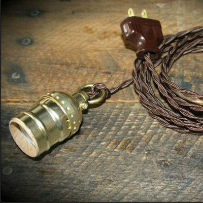 Brown Twisted Cloth Antique cord Lamp with Loop Grip