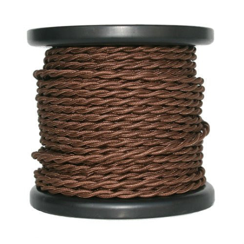 Brown Cloth Covered Twisted Cord - 100 foot spool - 18 AWG