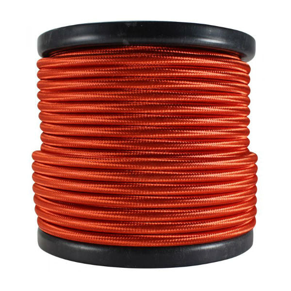 2 conductor red round cloth covered cord - 100 ft. Spool