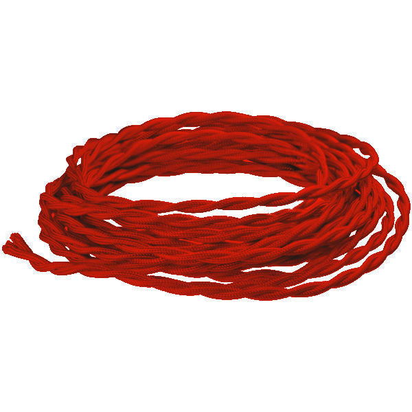 Red Twisted Cloth Covered Lamp Wire