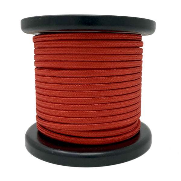 Red Cloth-Covered Parallel Wire - 100 foot spool