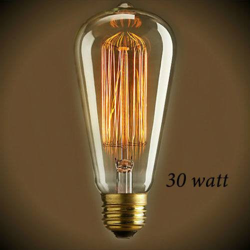 Edison Squirrel Cage Filament 30 Watt Bulb - 5.5 in. Length - Amber