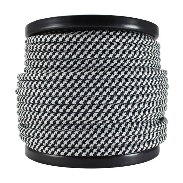 Black and white round cloth covered cord SVT-2- 100 ft.