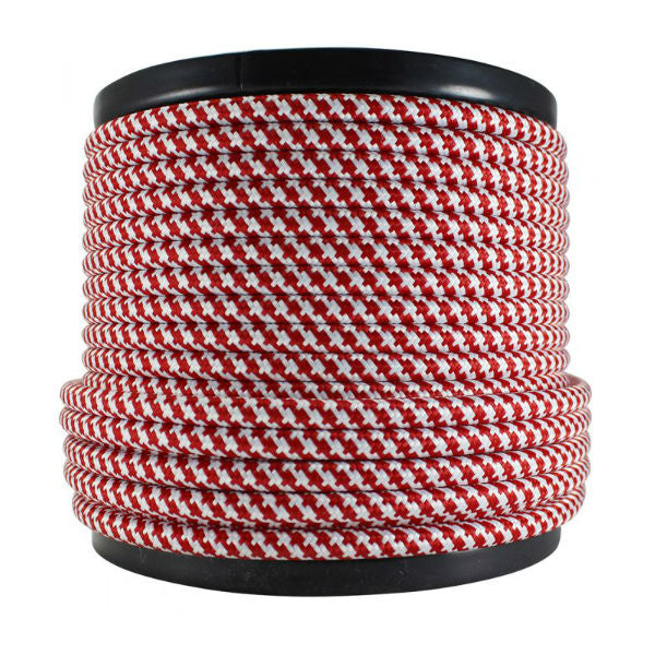 Red and white round cloth covered cord SVT-2 - 100 ft.