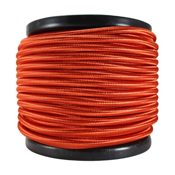 3 Conductor Red Rayon Covered Cord - 100 ft Spool