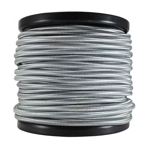 3 Conductor Silver Cloth Covered Cord - 100 ft Spool