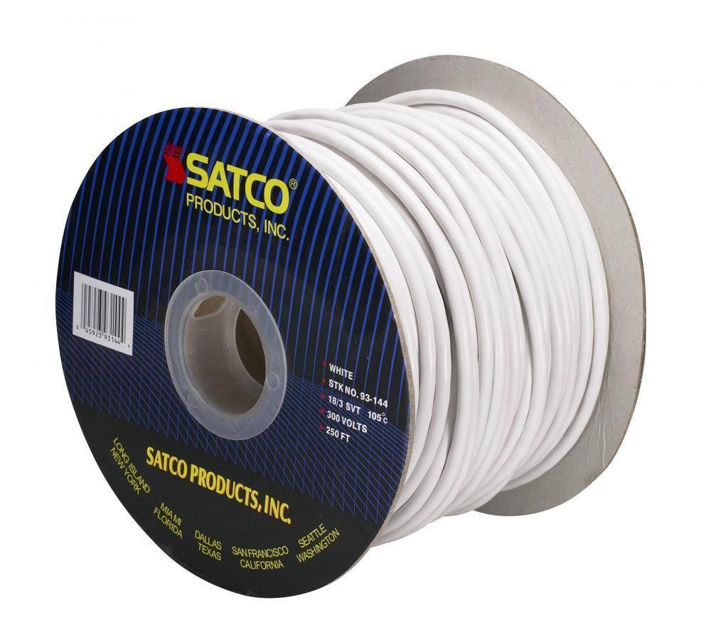 Pendant White Round 3 Conductor Cord- 100 FT. Spool