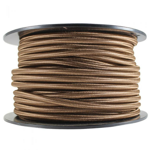 2 conductor brown round cloth covered cord - 100 ft. Spool