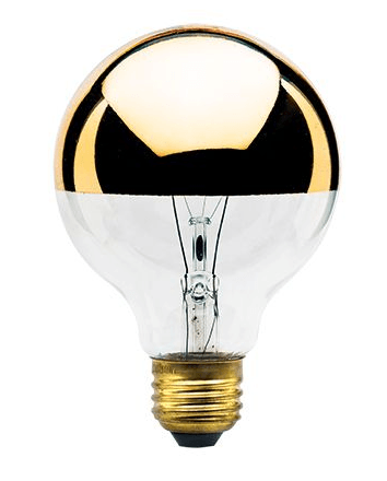Half Gold 40 Watt Globe G25 Light Bulb