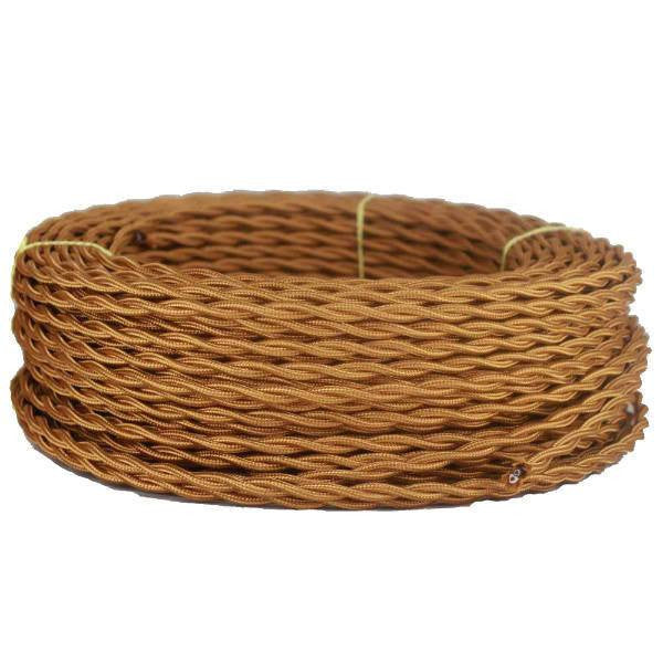 Light Bronze Twisted cloth wire - Per ft. - 18 AWG