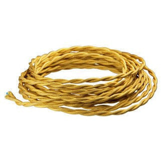 Gold Twisted cloth wire- Per ft. - 18 AWG