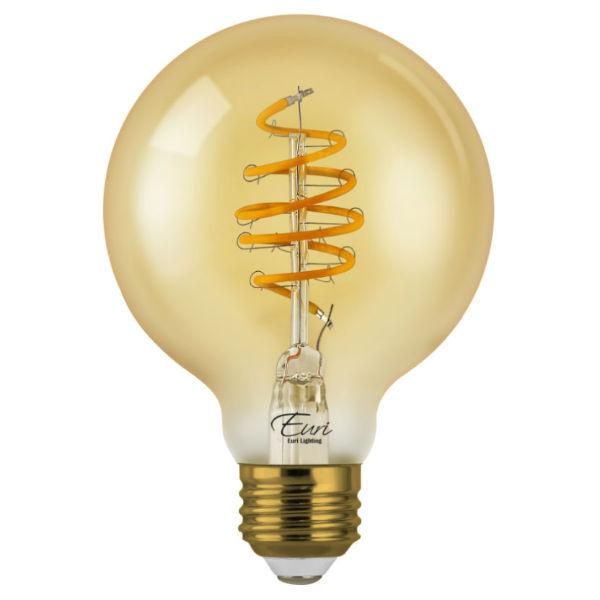 Curved LED Spiral Filament Edison Glob Bulb - 4.5 Watt - 2200K