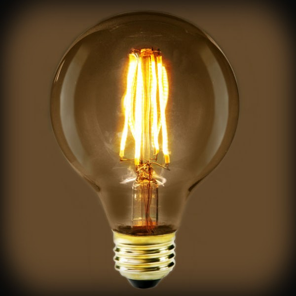 LED Filament Edison Light Bulb - G25 Globe - 7 Watt - Amber - 2200K